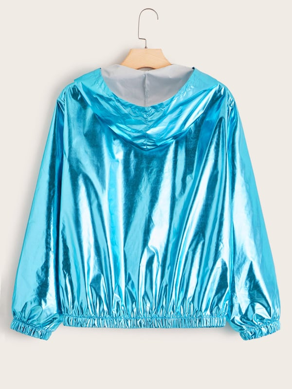 Plus Size Metallic Zip Up Windbreaker Jacket