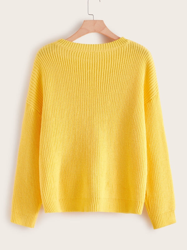 Plus Size Solid Drop Shoulder Sweater