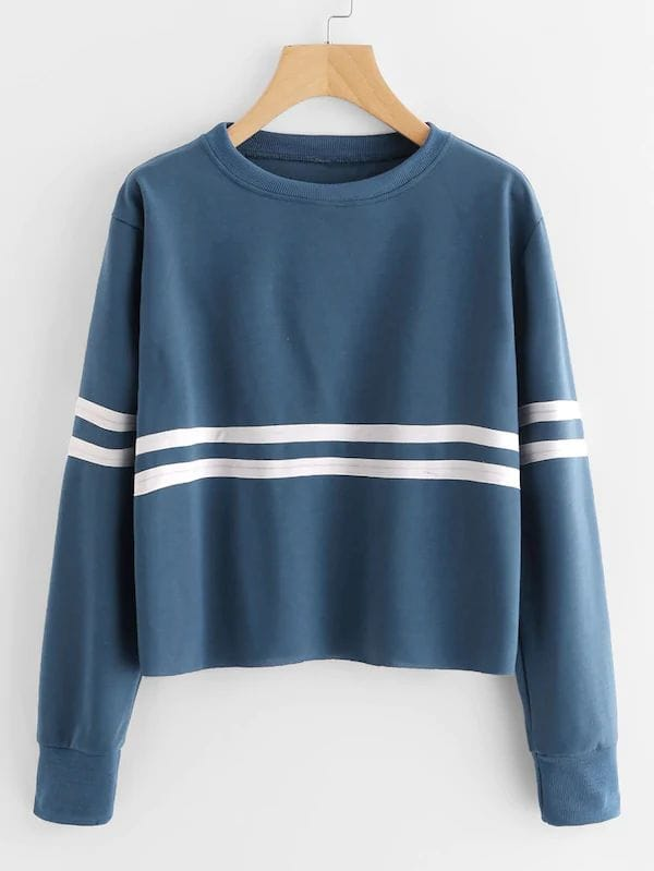 Plus Size Contrast Tape Drop Shoulder Sweatshirt