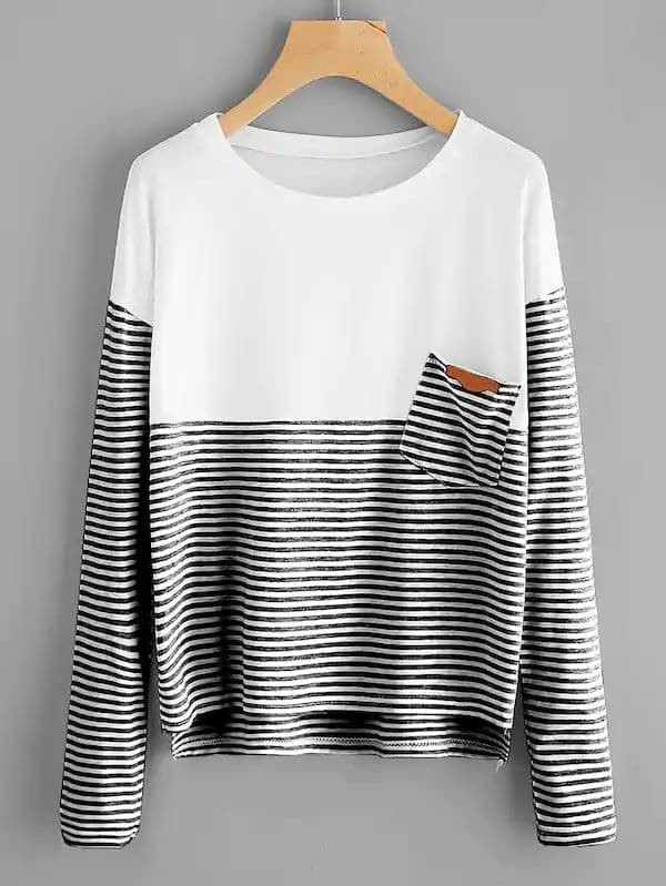 Plus Size Striped Pocket Patched Tee
