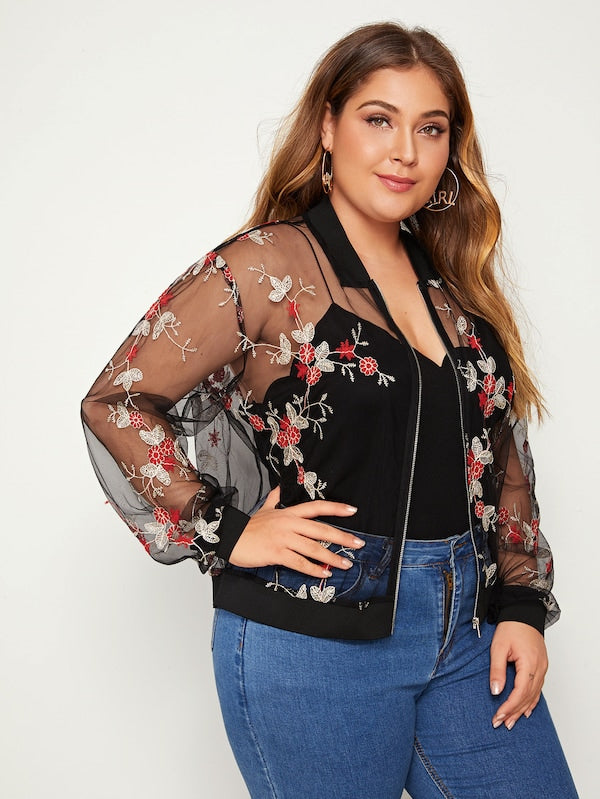 Plus Size Embroidered Mesh Bomber Jacket Without Cami