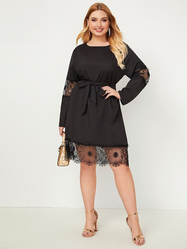 Plus Size Self Tie Lace Panel Dress