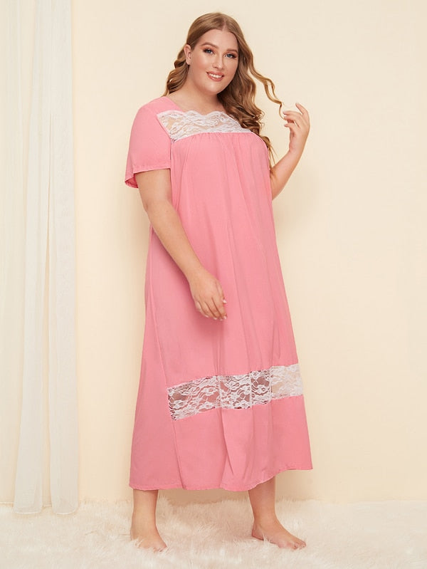 Plus Size Contrast Lace Night Dress