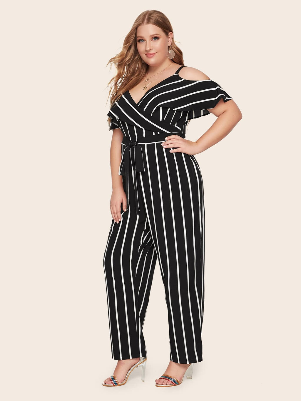 Plus Size Mod Stripe Cold Shoulder Surplice Jumpsuit