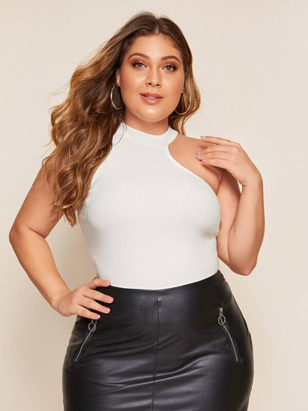 Plus Size Asymmetrical Neck Fitted Knit Top