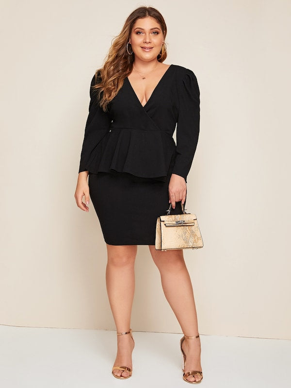 Plus Size Surplice Neck Puff Sleeve Peplum Top And Skirt Set