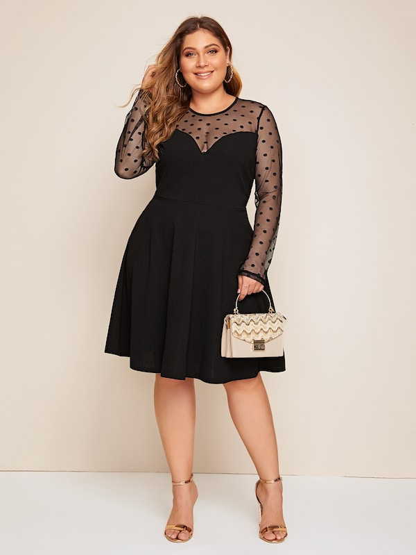 Plus Size Dot Mesh Yoke Dress