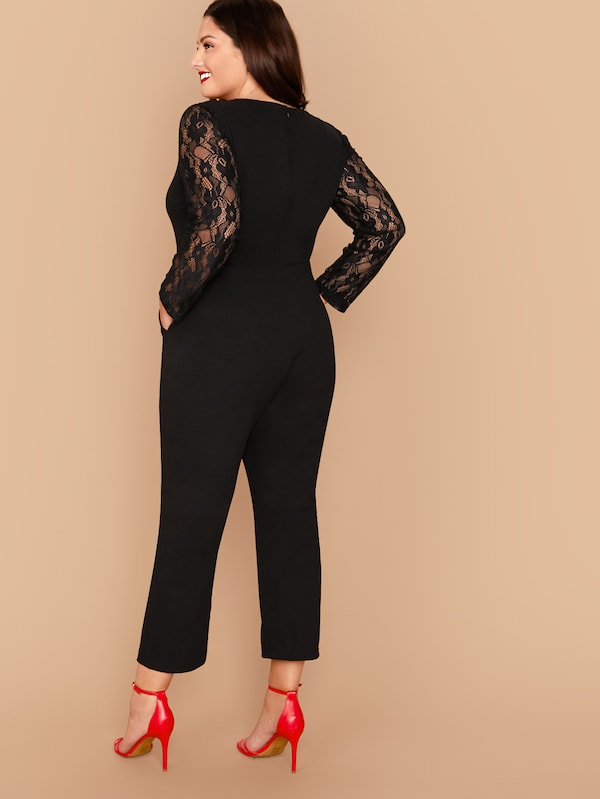 Plus Size Sheer Lace Yoke Jumpsuit