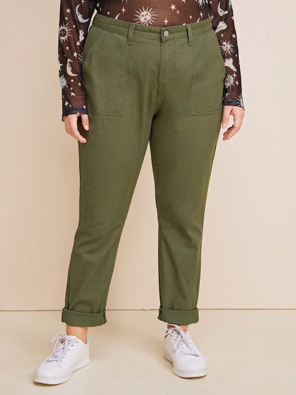 Plus Size Army Green Dual Pocket Jeans