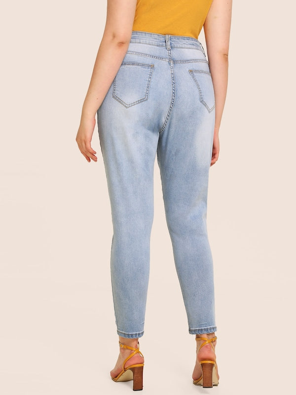 Plus Size Light Wash Button Fly Jeans