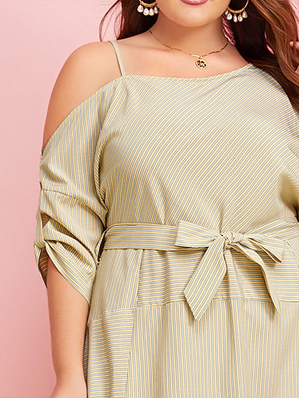 Plus Size Striped Asymmetrical Neck Belted Dress