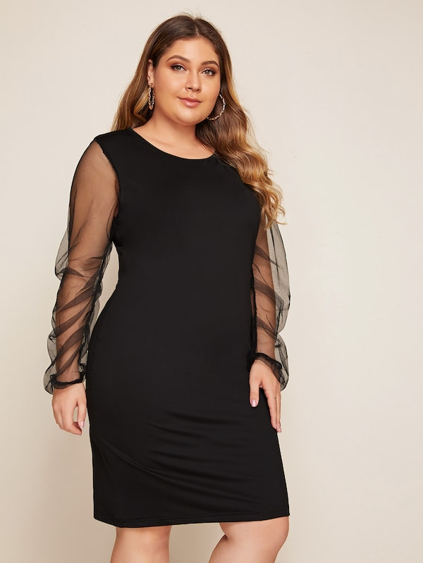 Plus Size Mesh Sleeve Fitted Midi Dress