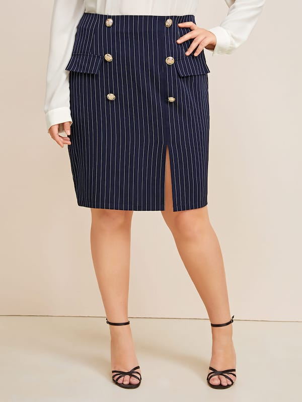 Plus SizeStriped Double Breasted Split Skirt