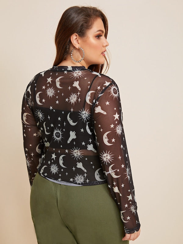 Plus SizeSun & Moon Print Sheer Top