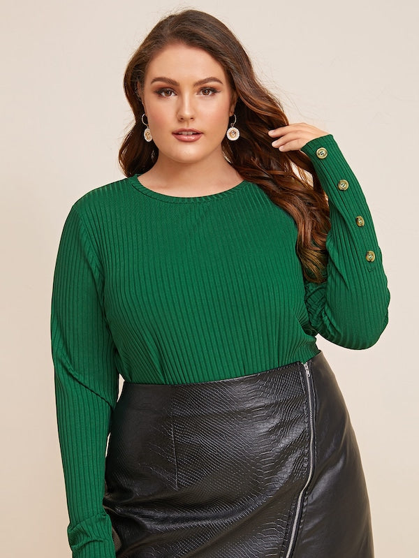 Plus Size Rib-Knit Button Detail Sweater