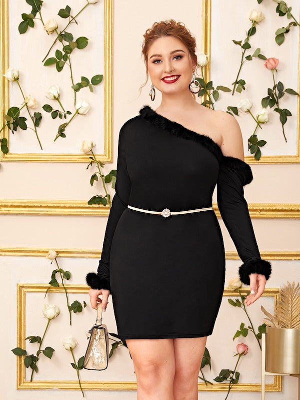 Plus Size Contrast Faux Fur Asymmetrical Neck Dress Without Belt