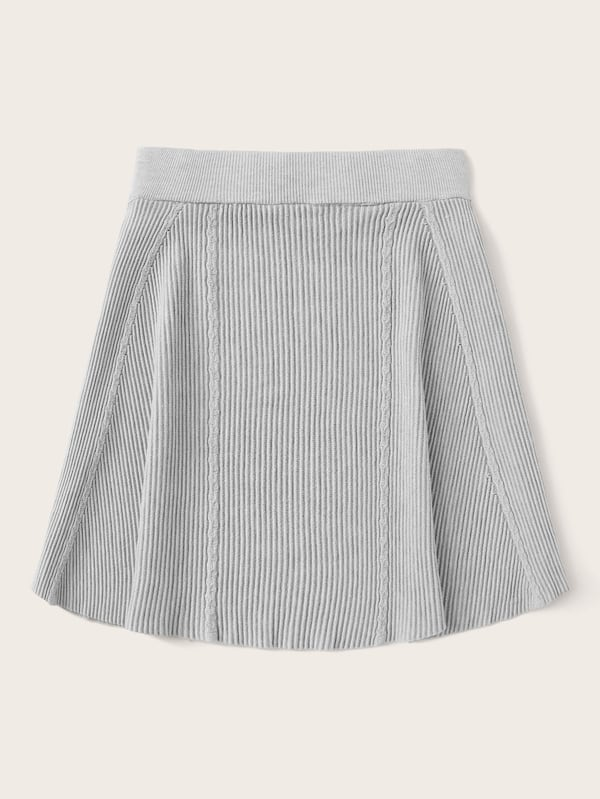 Plus Size Solid Elastic Waist Sweater Skirt