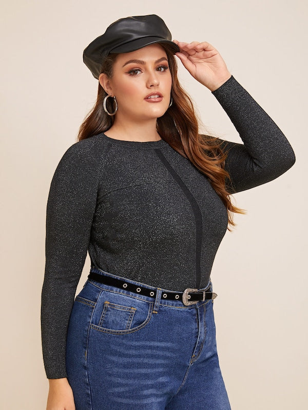 Plus Size Solid Raglan Sleeve Fitted Jumper