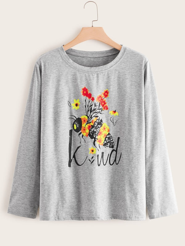Plus Size Bee And Letter Print Tee