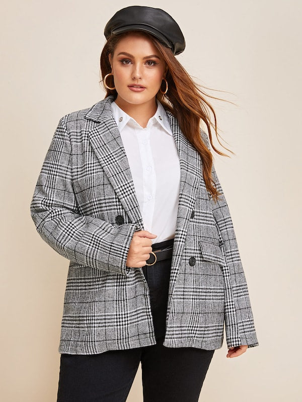 Plus Size Double Breasted Plaid Blazer