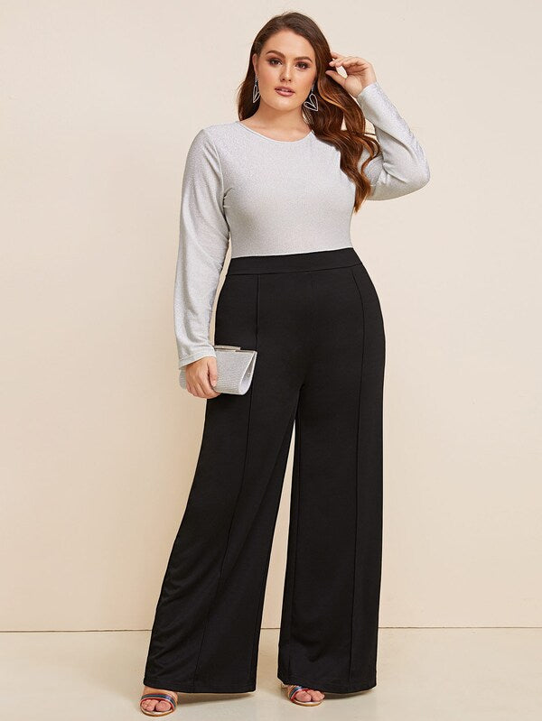 Plus Size Two Tone Glitter Panel Wide Leg Jumpsuit