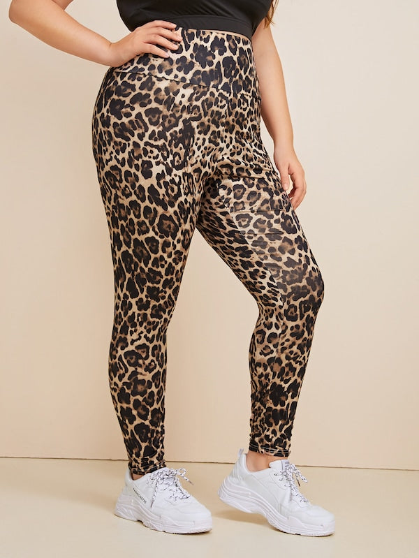 Plus Size Leopard Print High Rise Leggings