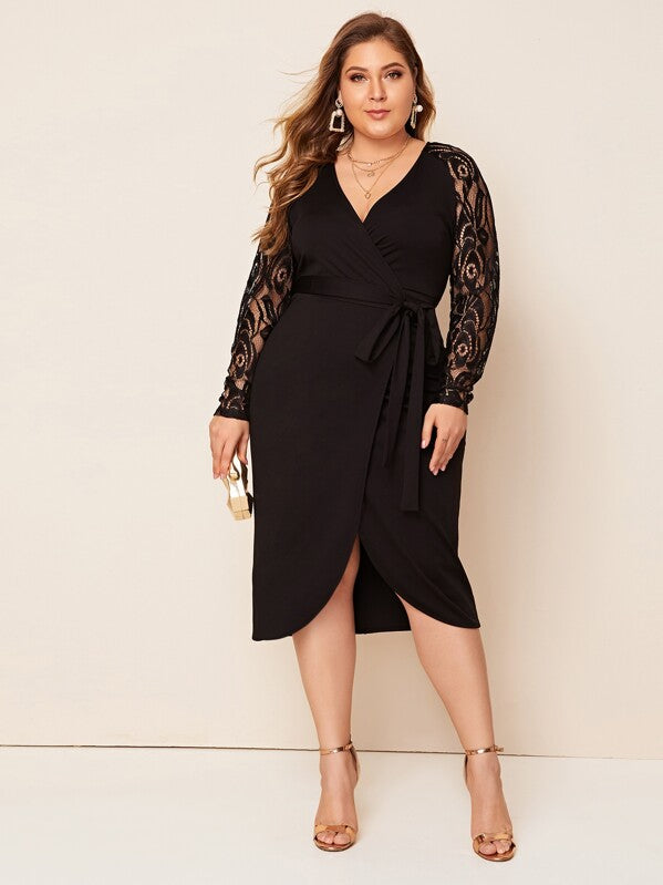 Plus Size Lace Sleeve Self Belted Wrap Dress