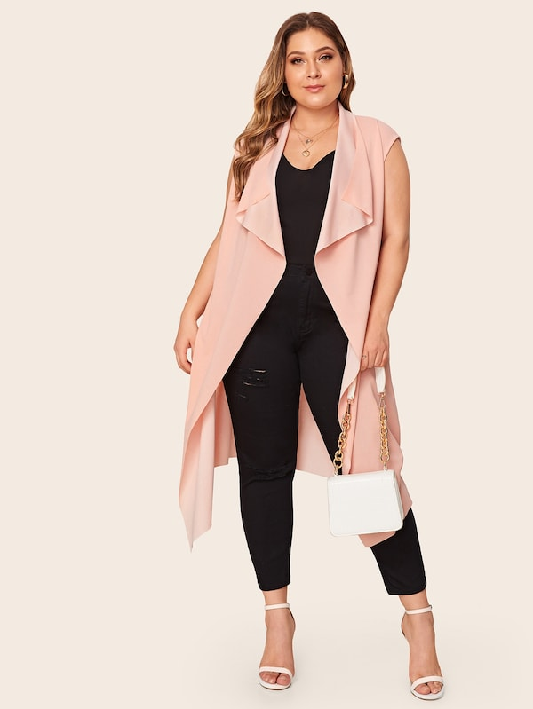 Plus Size Open Front Solid Waterfall Coat