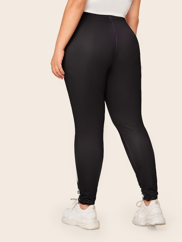 Plus Size Animal Print Elastic Waist Legging