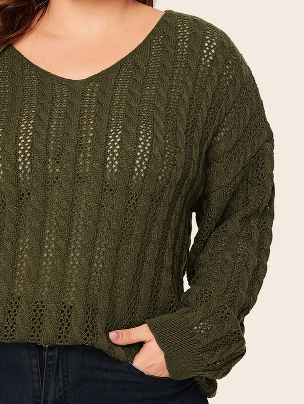 Plus Size Solid V-Neck Drop Shoulder Sweater