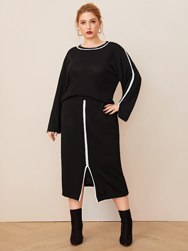 Plus Size Contrast Binding Sweater & Slit Hem Sweater Skirt