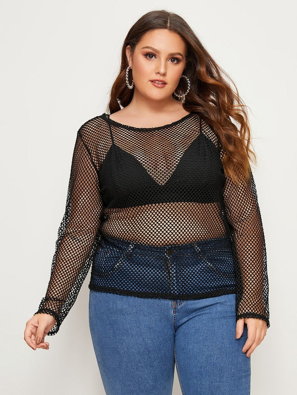 Plus Size Sheer Fishnet Top