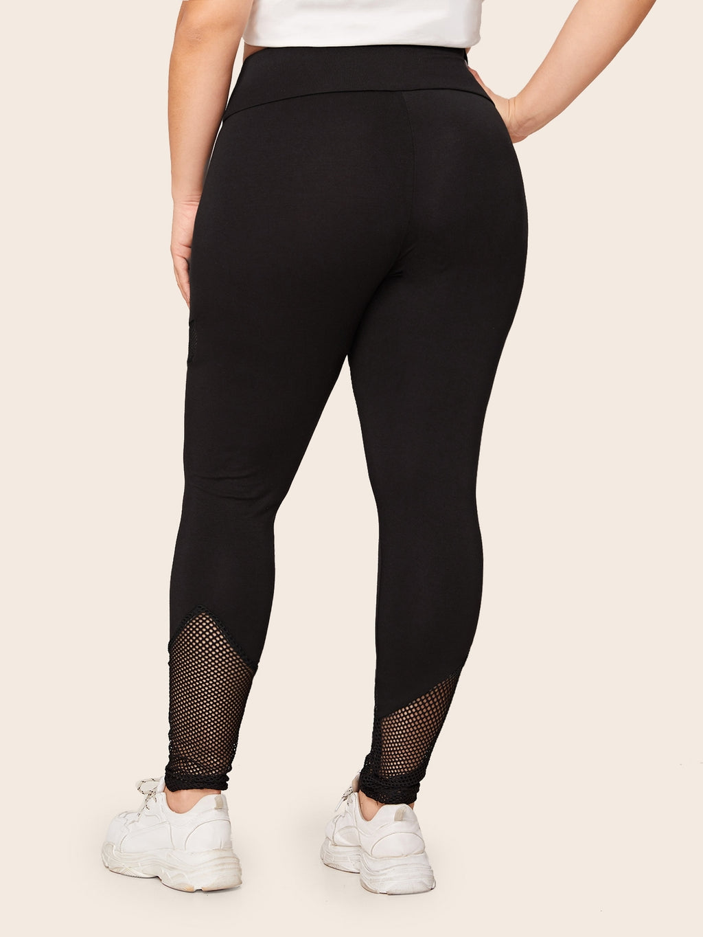Plus Size Sport Waistband Mesh Insert Leggings