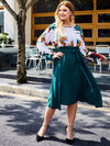 Plus Size Two Tone Floral Print Belted Dress