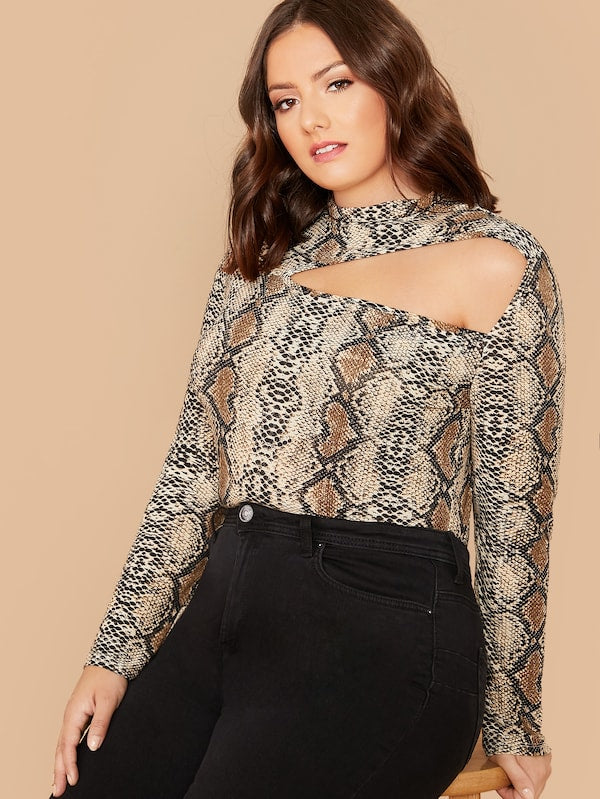 Plus Size Mock-Neck Cut Out Snakeskin Print Top