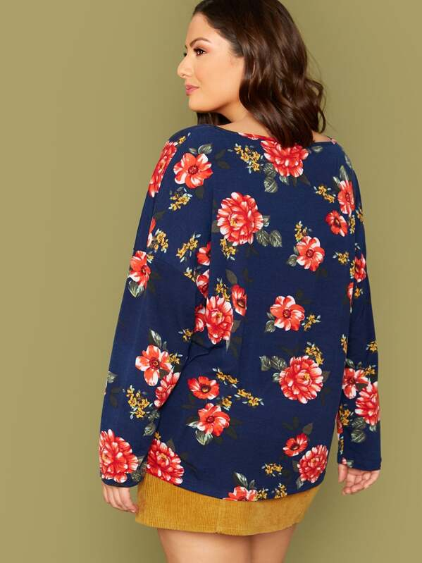 Plus Size Floral Print Drop Shoulder Tee
