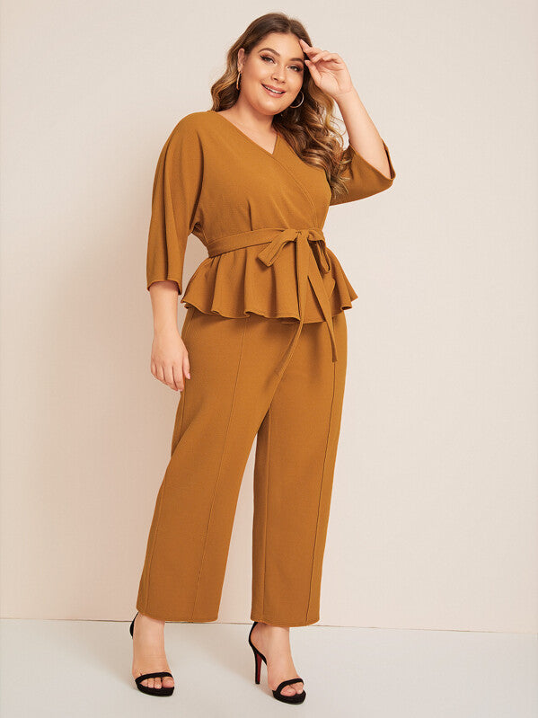 Plus Size Self Belted Peplum Top & Pants Set