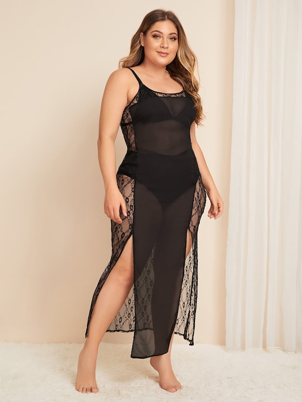 Plus Size Split Contrast Mesh Floral Lace Dress