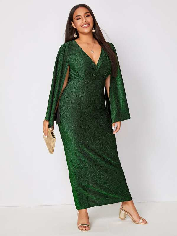Plus Size Cape Sleeve Slit Hem Glitter Dress