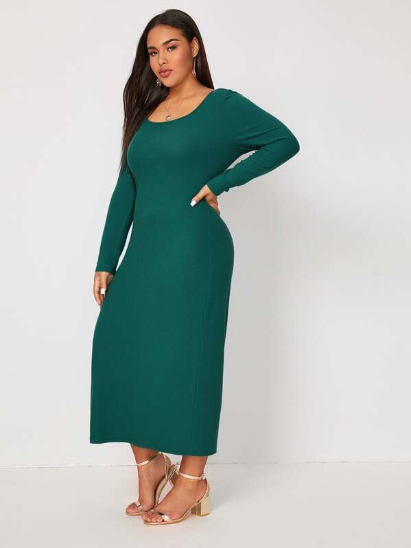 Plus Size Scoop Neck Solid Dress