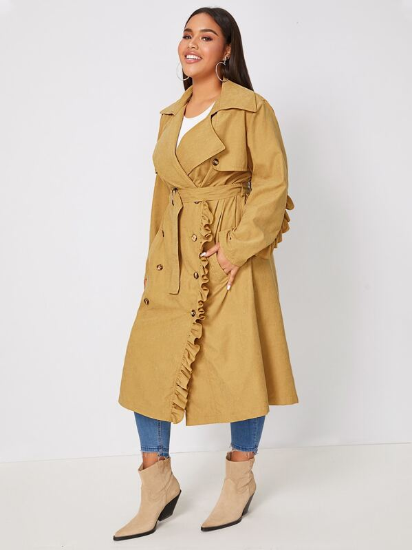 Plus Size Ruffle Trim Double Breasted Belted Coat Top