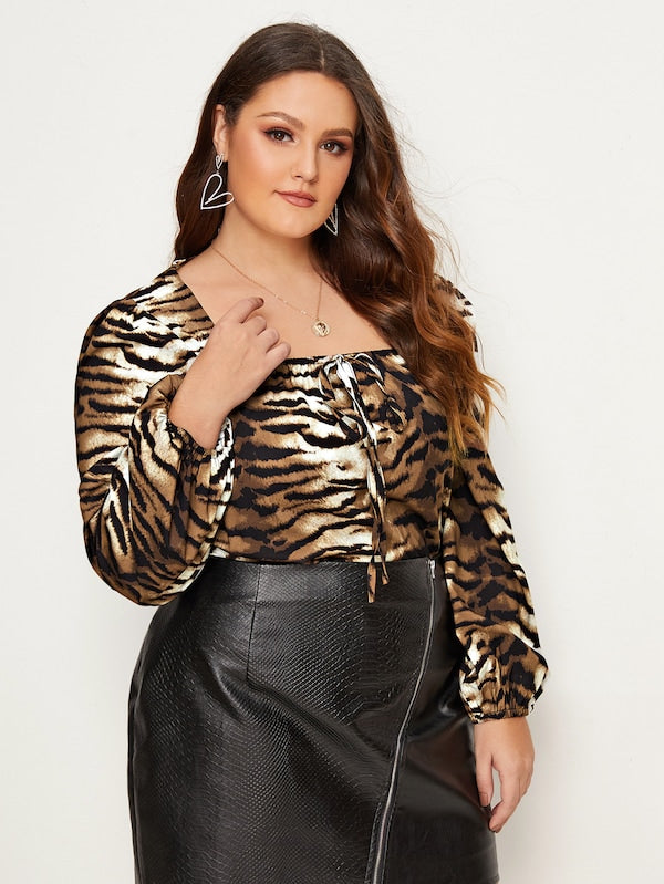 Plus Size Tiger Pattern Square Neck Tie Front Blouse
