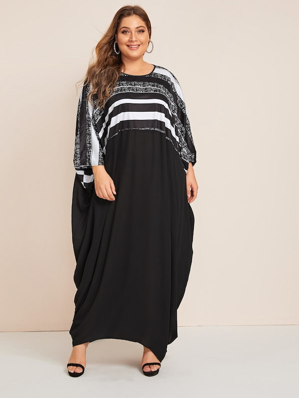 Plus Size Random Striped Cocoon Maxi Dress