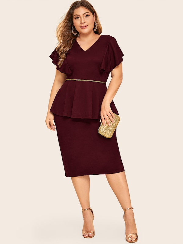 Plus Size Split Back Flutter Sleeve Peplum Dress