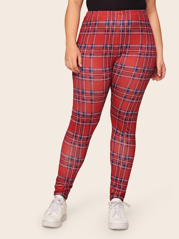 Plus Size Plaid Print Skinny Leggings