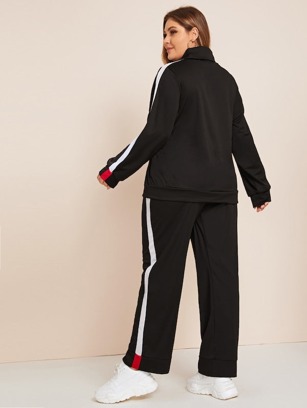 Colorblock High Neck Sweatshirt & Sweatpants Set