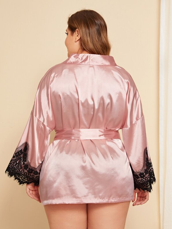 Plus Size Contrast Lace Satin Robe With Belt