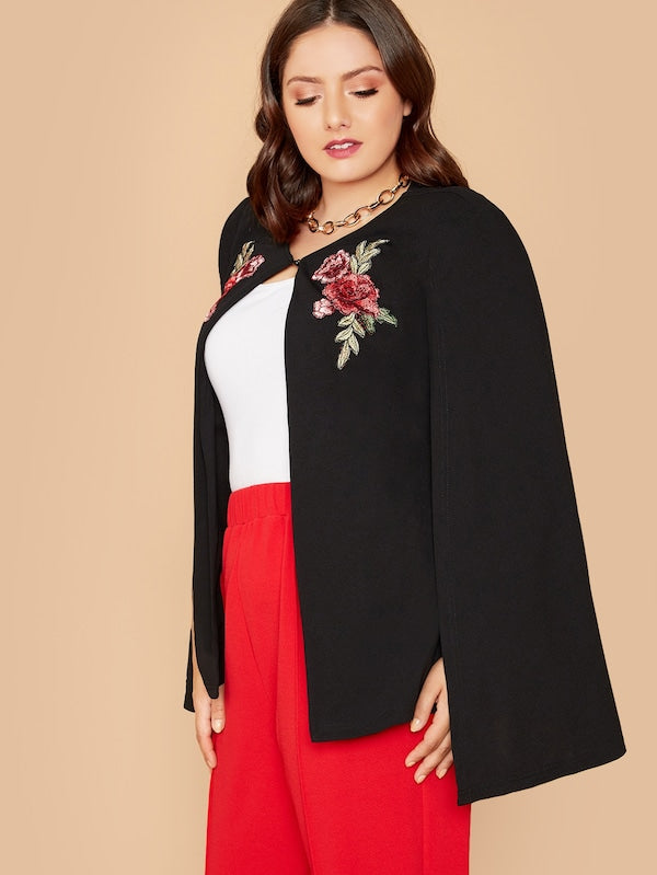 Plus Size Embroidery Front Cape Blazer