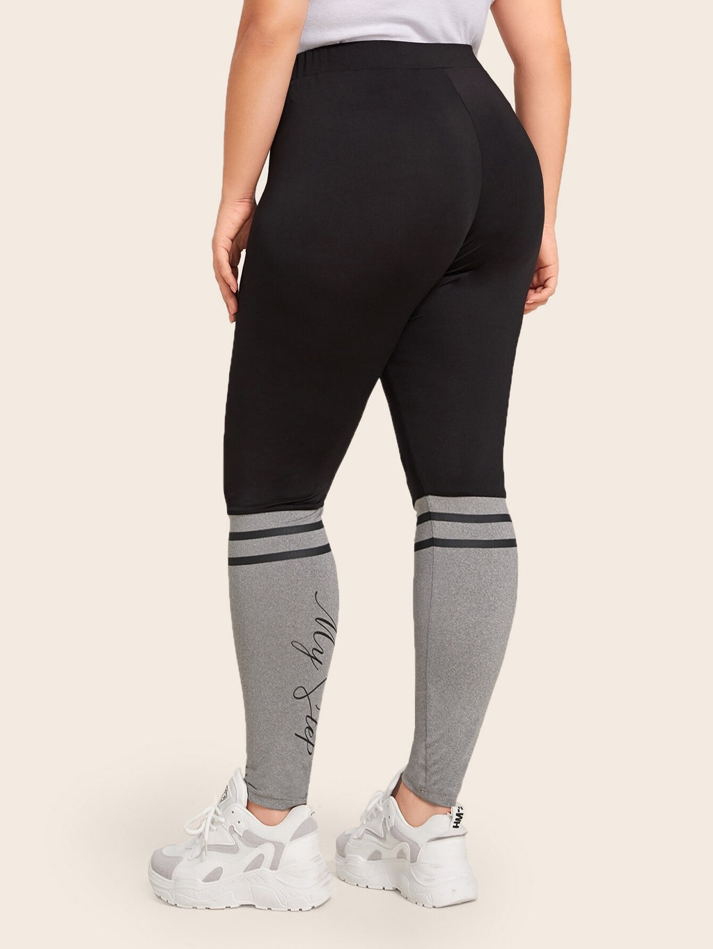 Plus Size Striped and Letter Graphic Heather Grey Leggings