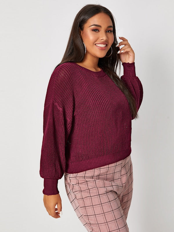 Plus Size Drop Shoulder Chunky Knit Jumper Top